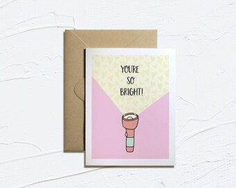Printable Card- You're So Bright! Printable Valentines Cards, Funny Valentines, Camping Cards, Instant Download, Love Puns, E-Card
