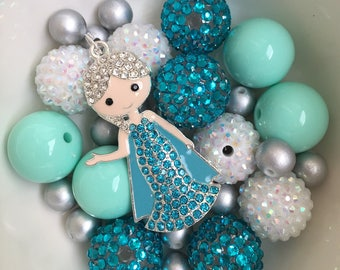 DIY chunky necklace elsa kit.. DIY KIT.. elsa necklace kit.. party favor.. elsa necklace charm.. elsa part