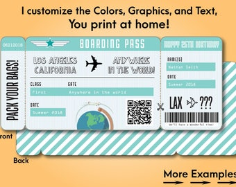 Printable Custom Boarding Pass Surprise Airline Ticket Airplane Destination Train Cruise Plane Fake ticket to give as a gift! Print at home!