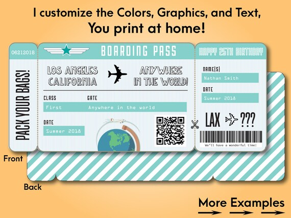 Printable custom boarding pass surprise airline ticket for How to buy plane tickets as a gift