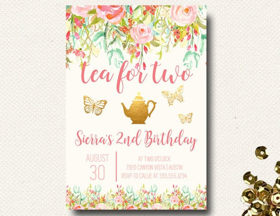 Tea Party Invitation For Two Birthday Floral Pink Garden DIY Printable