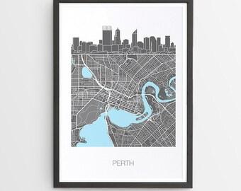 Perth City Skyline Map Print / Western Australia / Skyline illustration / City Print / Australian Maps / Giclee / Unframed