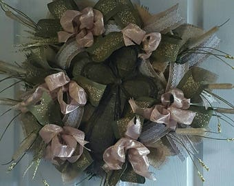 Gorgeous Metallic Rose Gold and Olive Rustic Cross Wreath