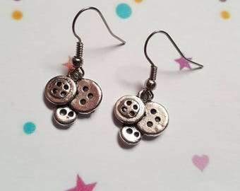 Button cluster earrings, Button earrings, Button jewellery, Dangle earrings, Buttons, Button lovers, Quirky jewellery,