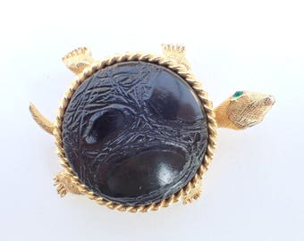 Signed From Polly Bergen dimensional Turtle Brooch figural AB224