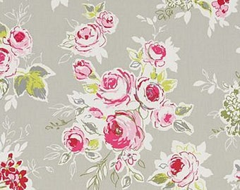 English rose garden pebble Clarke and Clarke fabric