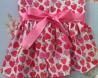 Strawberry Sundae Dress. Size Medium. Maltese, Standard Yorkie, Pomeranian, Toy Poodle