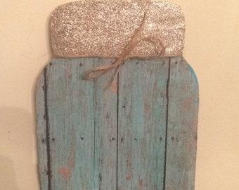 Turquoise mason jar door hanger