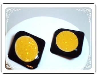 Black/Yellow Earrings -  Diamond Shape Retro Earrings   E401a-04081200