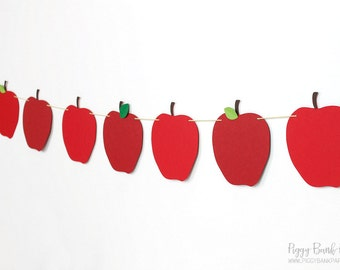 Two-Tone Apple Garland : Handcrafted Back to School Decoration | Fall Decoration | Teacher Banner | Fruit Garland | Snow White Birthday