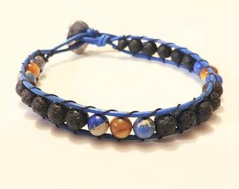 Aromatherapy Essential Oil Diffuser Lava Stone Single Wrap Bracelet