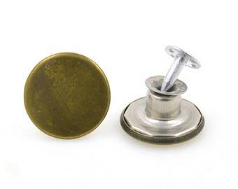 bronze x 2 Stud denim metal button
