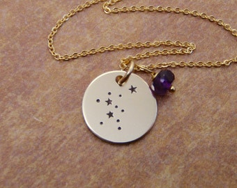 Zodiac jewelry - Small Gold Constellation necklace with tiny birthstone charm - Custom constellation - Aquarius featured - Birthday jewelry