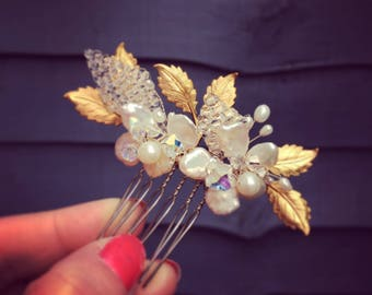Molly Hair Comb - Gold Leaf - Crystal - Pearl - Bride Hair Accessories - Bridesmaids