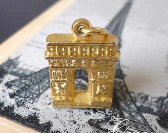 Vintage Golden Metal French Paris monument Arch of Triumph 3D Charm Miniature Jewel Pendant