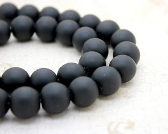 Matte Black Onyx Round Gemstone Beads (4mm 6mm 8mm 10mm 12mm 14mm)