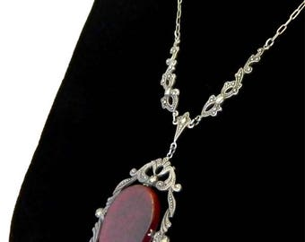 Vintage 1920s Art Deco Pendant Necklace Carnelian and Sterling Silver