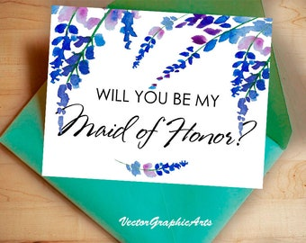 Printable Will You Be My maid of honor Card with Blue Flowers, Instant Download Greeting Card, Wedding Card Instant Download