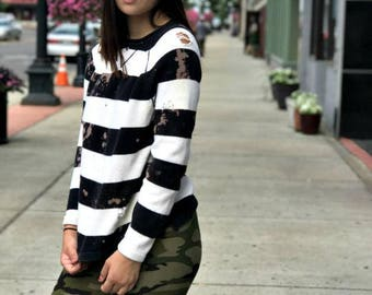 LYDIA SWEATER // upcycled // grunge // vintage inspired // hand dyed // one of a kind // distressed // destroyed striped sweater //