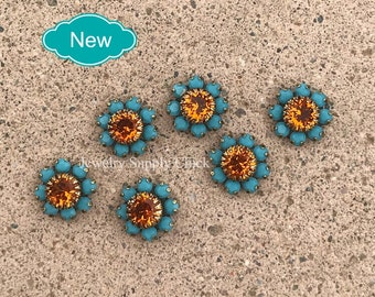 Turquoise / Tangerine flower daisy 39ss setting connector (x6+)