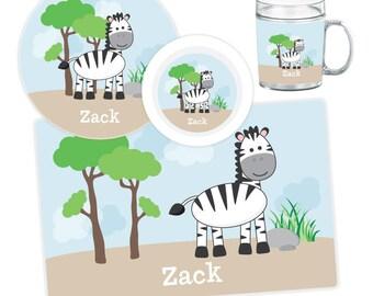 Zebra Plate, Bowl, Mug or Placemat - Personalized Melamine Plate for Kids - Children Plates - Custom Kids Tableware - Dinnerware Set