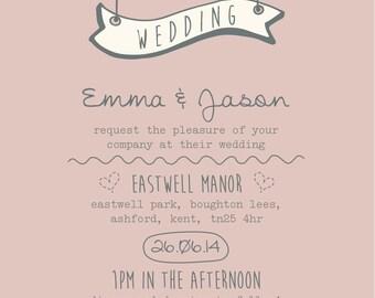 50 Pastel Pink Sweet Heart Shabby Chic Wedding Invitations