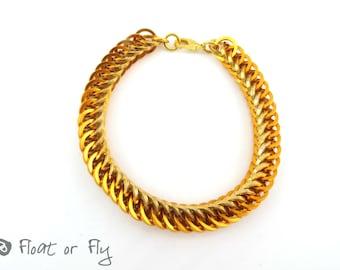 Half Persian Chain Maille Square Ring Bracelet - Golden Orange