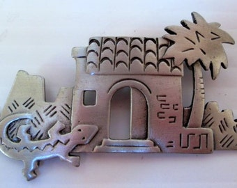 Vintage JJ Pin Southwest Pueblo -Jonette Jewelry Brooch - Artifacts collectible  made in the USA - unique gift under 20 collectible
