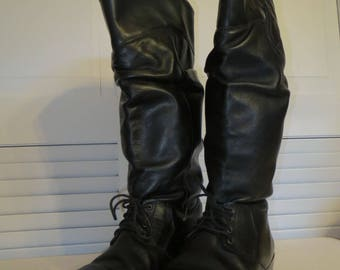 vintage Black Leather Tall Boots with Stacked Wood Heel by L L Bean - size 6 medium