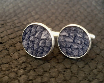 Blue salmon leather cuff links, engagement cuff links, wedding cuff links, fish leather jewelry