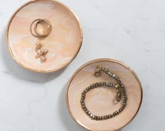 Creamsicle, Peach and Gold Marble Clay Ring Dish, Trinket Dish, Catch All, Photographer Styling Dish