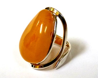 Baltic Amber Jewelry Butterscotch Ring Adjustable Yolk Natural 925 Silver 9.8 gram