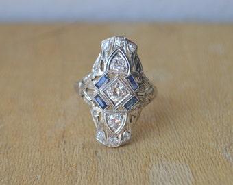 Diamond Art Deco Ring, 1920s ring, art deco jewelry, sapphire art deco ring, old mine diamond ring, gifts for moms