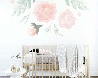 Flower Wall Decal Pink Flower Decal Mural Large Flowers Shelf Adhesive Removable Kids Decor Pink Baby Nursery. Flower Wall Decal