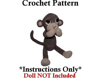 Sami the Sock Monkey CROCHET PATTERN Doll NOT Included