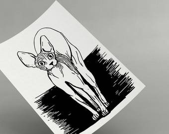 Curious Sphynx Cat - Printable - Cat Lover Gift - Naked Cat - Sphynx Poster - Instant Download - Black and White Cat Print - Animal Lover