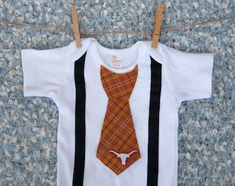 Texas Onesie, with Tie, Texas Baby, Longhorn, Shirt, Outfit, Clothes, Toddler, Boy, One Piece, Newborn, Bodysuit, Creeper, Wedding, T-shirt