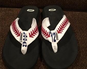 Baseball Flip Flops, Baseball, baseball sandals, personalized free, baseball mom, flip flops, sandals, glitter sandals.