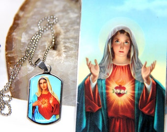 Sacred Heart of Mary Pendant Necklace, Heart of Mary Picture, Sacred Heart of Mary, Immaculate Heart of Mary