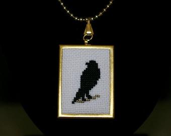 Raven Cross Stitch Pendant, Black Bird Pendant, Embroidered Crow Pendant