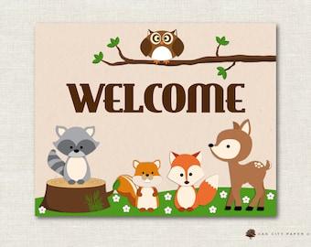 Woodland Animal Baby Shower Decorations, Woodland Animal Baby Shower Welcome Sign, Baby Shower Welcome Sign, Animal Welcome Sign, Printable