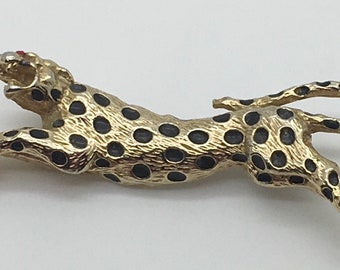 Ciner Leopard Brooch Pin Black Enamel Spots Gold Tone Leaping Jumping Big Cat Zoo Wild Animal Designer  Mother's Day Birthday Anniversary