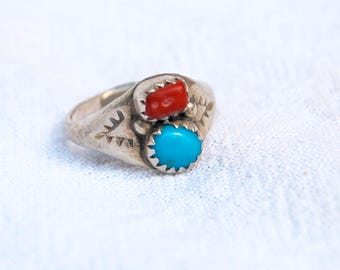 Turquoise and Red Coral Ring Size 4 Vintage Wide Sterling Silver Southwest Boho Jewelry Pinky Ring