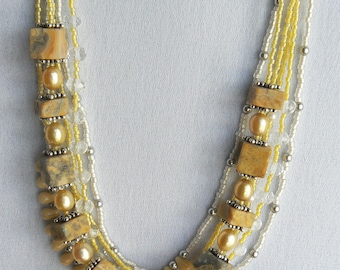 Multi-strand yellow/gray jasper with clear crystal and freshwater pearls necklace