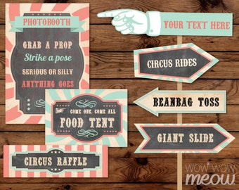 28 Vintage Circus Signs Printable INSTANT DOWNLOAD Coral Mint Pastel Direction Arrow Signpost Personalize Birthday Carnival Party Editable