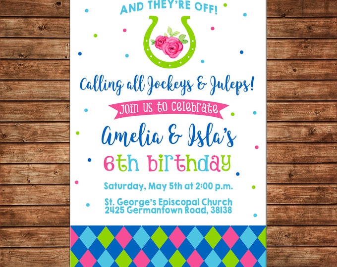Invitation Derby Horse Jockeys Juleps Kids Birthday Party - Can personalize colors /wording - Printable File or Printed Cards