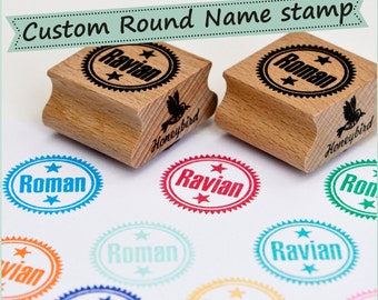 Personalized name stamp, custom made rubber stamp with a name of your choice - for her - for him - for kids - birth - birthday - baby stamp