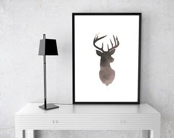 Buck, Foggy Mist, Edgy, Modern, Printable Wall Art, Photography, Woodland, Fog, Digital, Home Decor