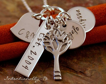 Mother's Day Necklace - Personalized Mommy Jewelry - Hand Stamped Jewerly - Sterling Silver Necklace - My Love Story (with kids names)