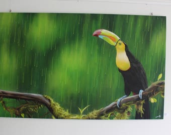 Toucan in the rain, graffiti art, spray paint art,